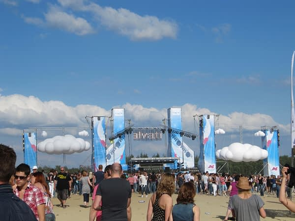 large inflatable clouds outside